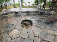 A Stone Patio with Firepit