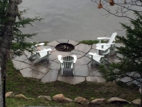 Lakeside Stone Patio with Firepit