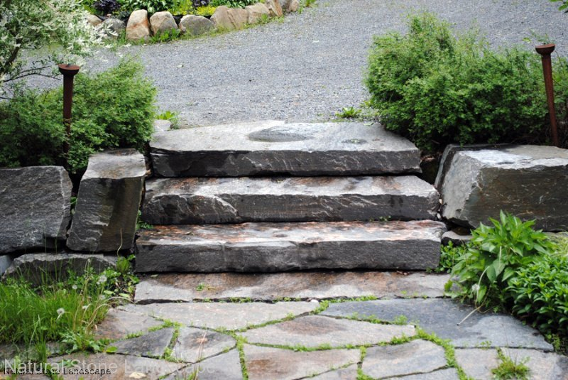Stairs natural stone landscape for Natural rock landscaping